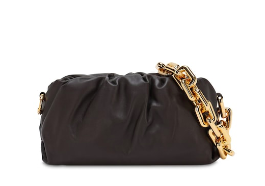 METAL CHAIN LEATHER SHOULDER BAG