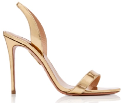 Click Product to Zoom Aquazzura So Nude Metallic Leather Slingback Sandals