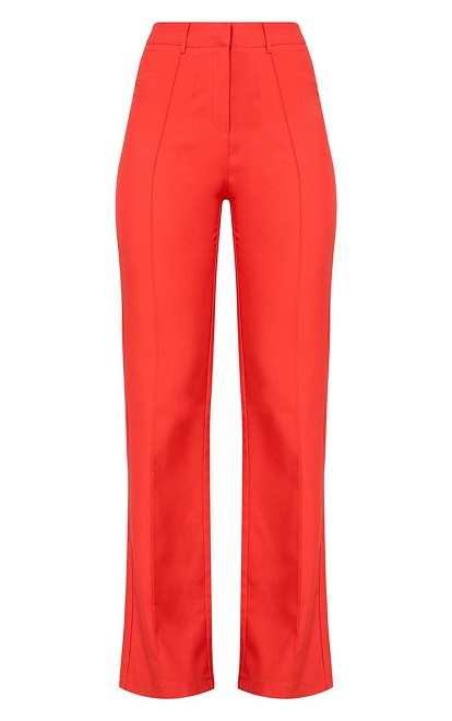 RED HIGH WAISTED STRAIGHT LEG TROUSERS