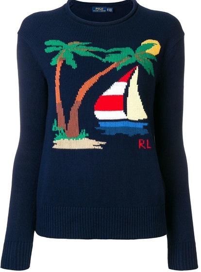 POLO RALPH LAUREN nautical motif sweater