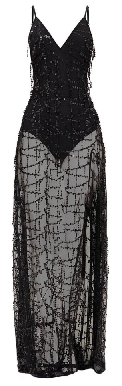 BLACK SEQUIN PLUNGE MAXI DRESS