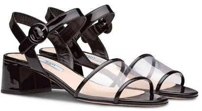 PRADA Plexiglas and patent leather sandals