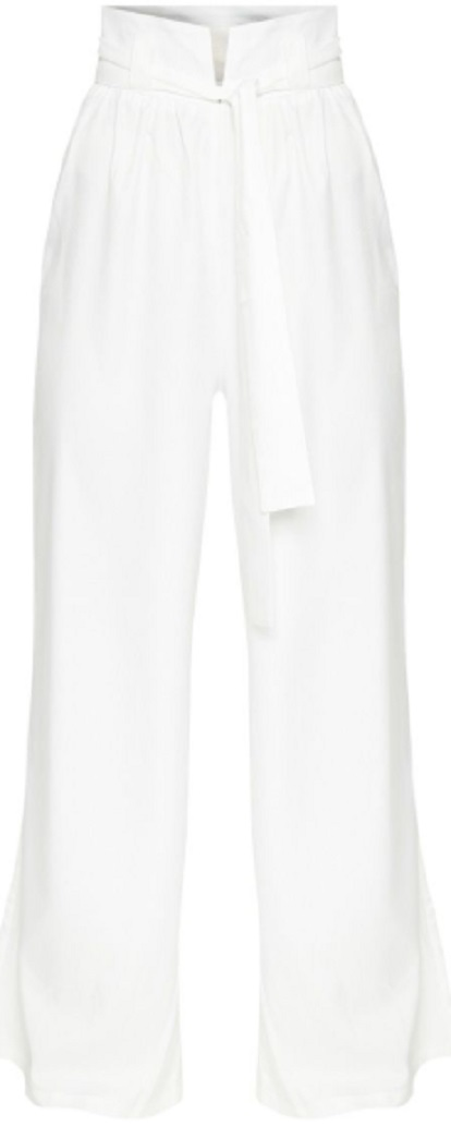 CREAM COTTON HIGH WAISTED BELT DETAIL PANTS
