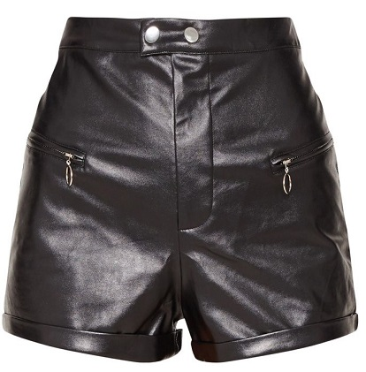 BLACK FAUX LEATHER ZIP DETAIL SHORT