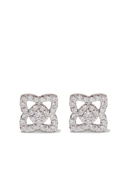 DE BEERS 18kt white gold Enchanted Lotus diamond small stud earrings