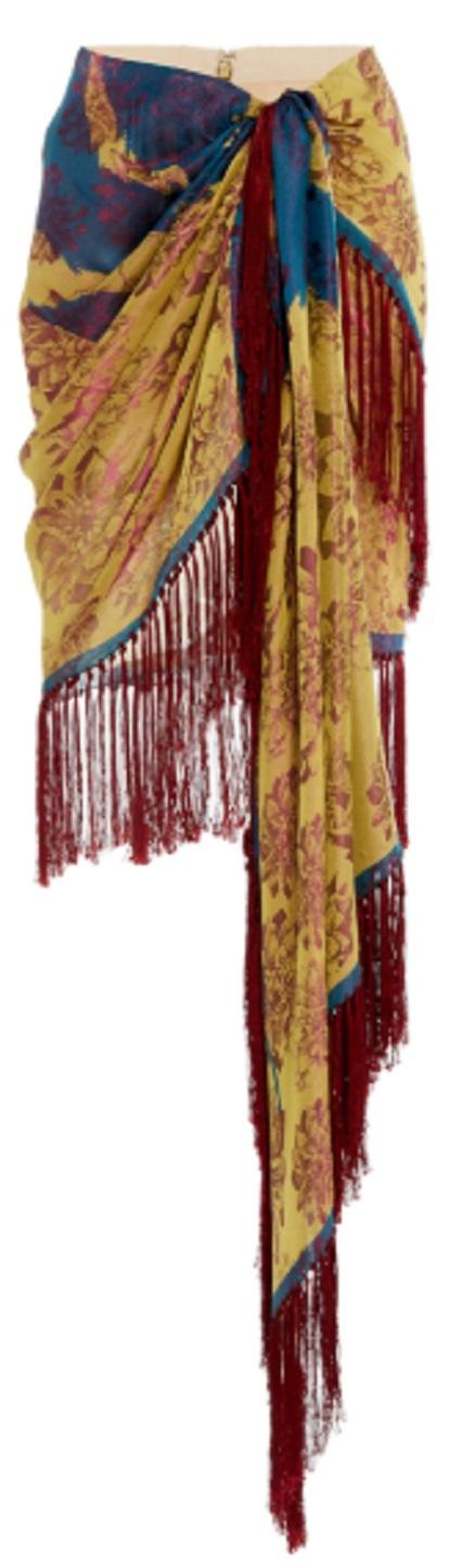 Click Product to Zoom Oscar De La Renta Fringe-Trimmed Floral-Print Silk Midi Skirt