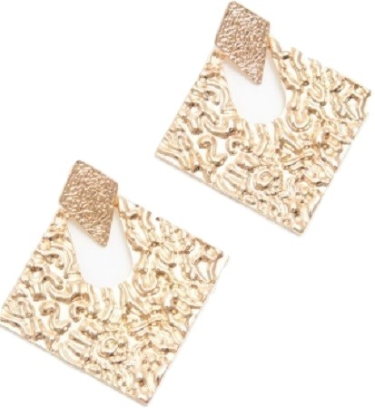 GOLD METAL TEXTURED DIAMOND SHAPE STUDS