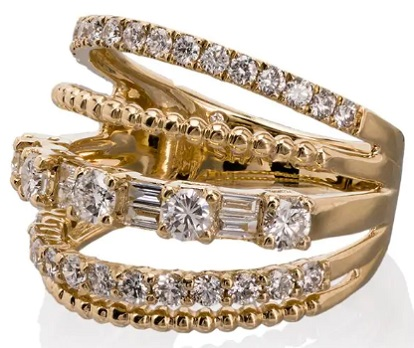 SHAY 18kt yellow gold Closed Mixed diamond ring