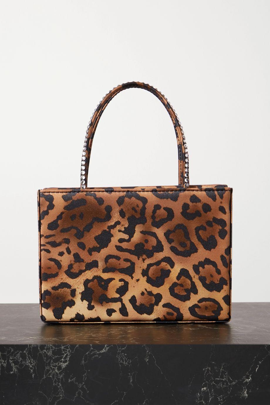 Gilda mini crystal-embellished leopard-print satin tote