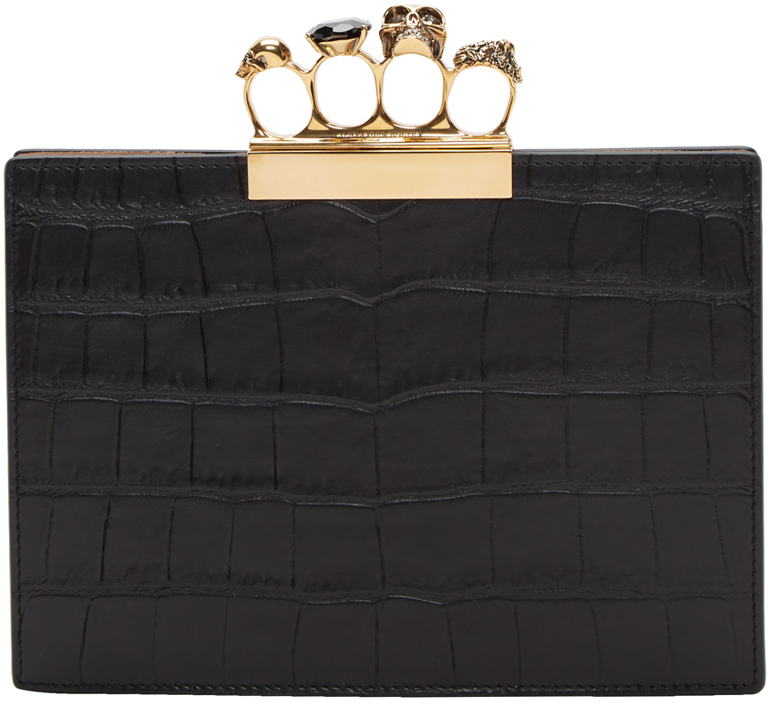 Alexander McQueen Black Croc North South Knuckle Clasp Pouch
