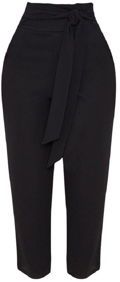 BLACK PEBBLE CREPE TIE WAIST CIGARETTE PANTS