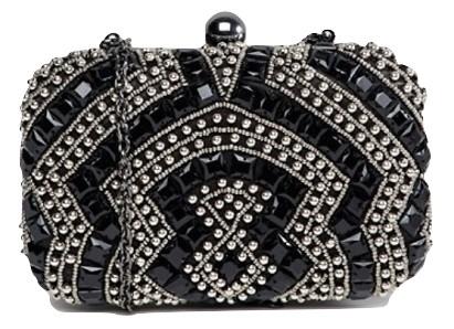 True Decadence Black Beaded Embellished Box Clutch Bag